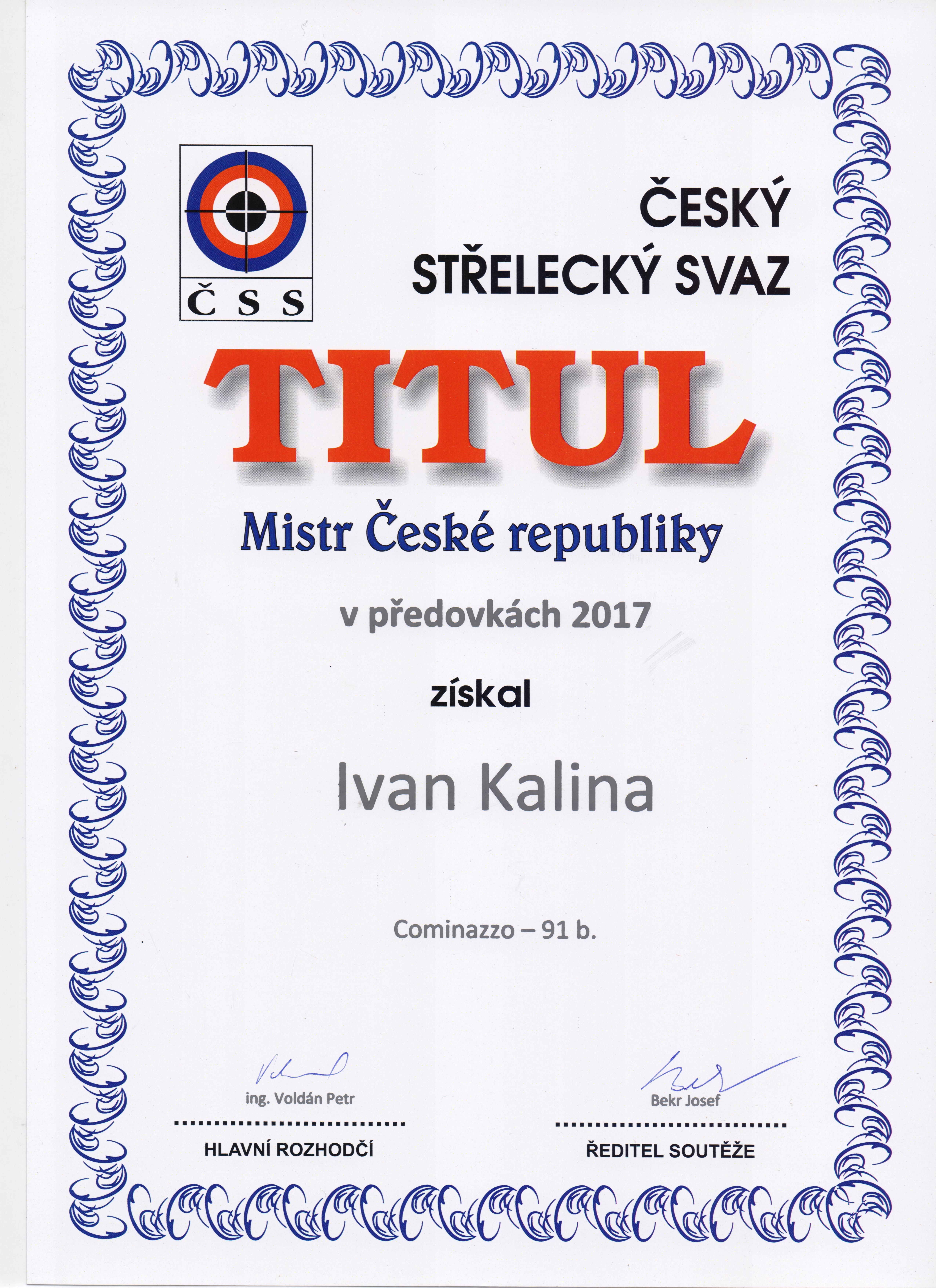 Mistr ČR ve střelbě z předovek