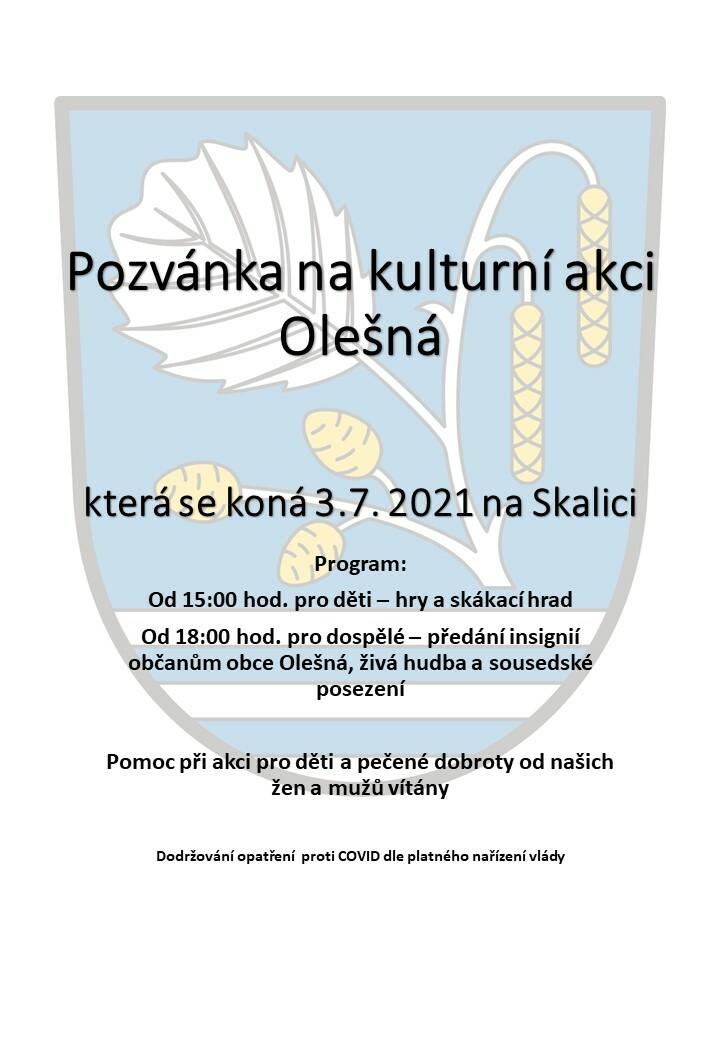 Pozvánka na kulturní akci Olešná